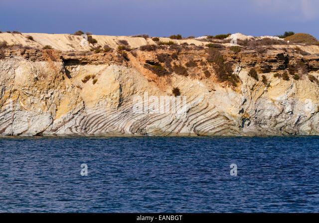 rock fold stratus, Alaminos, Cyprus. - Stock Image