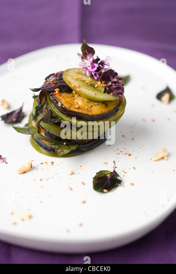 Tomato and eggplant mille feuille - Stock-Bilder