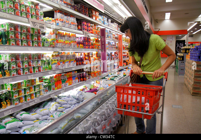 Buenos Aires Argentina Avenida Callao Disco Supermarket grocery store supermarket chain shopping refrigerator dairy - Stock Image