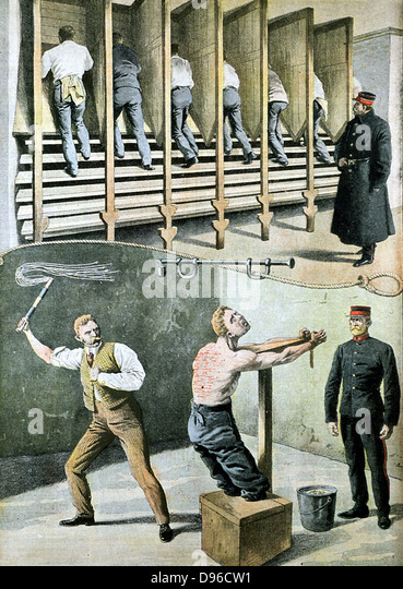 English prison life: treadmill for hard labour, and punishment with the cat-o-nine-tails. France was suffering from - Stock Image