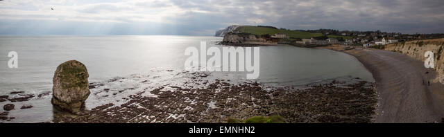 Panoramic view over Freshwater Bay on the Isle of Wight - Stock Image
