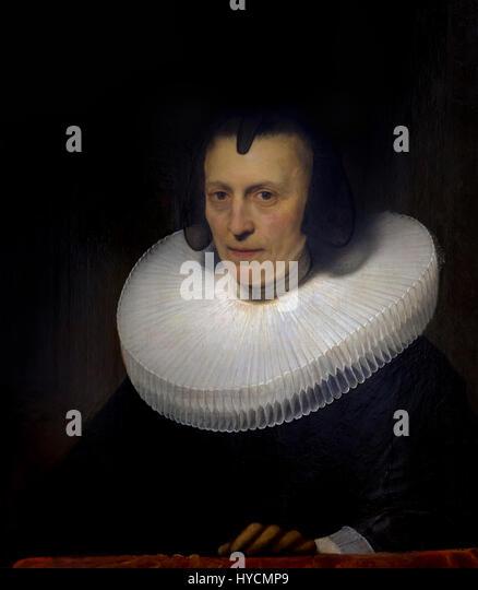 Portrait of Aletta Adriaensdochter, by Rembrandt, 1639, Boijmans van Beuningen Museum, Rotterdam, Netherlands, Europe - Stock Image