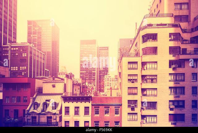 Vintage stylized picture of Manhattan, New York City, USA. - Stock-Bilder