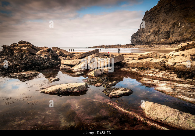 rock pool at crackington haven beach,cornwall - Stock Image