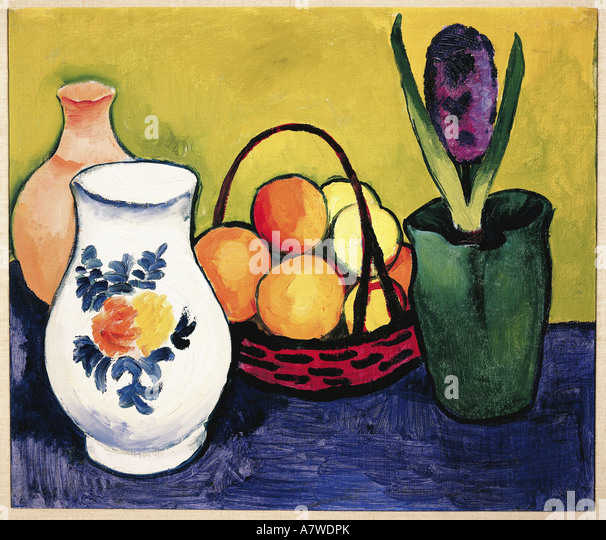 'fine arts, Macke, August (1887 - 1914), 'Weisser Krug mit Blumen und Früchten', painting, Tegernsee, - Stock-Bilder