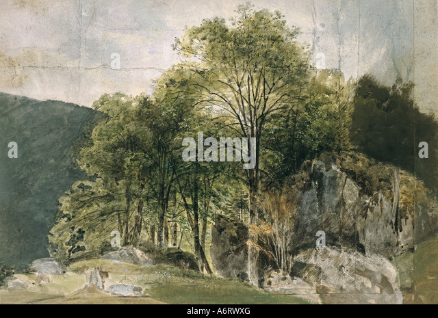 fine arts, romanticism, painting, beech grove in the alpine foothills, watercolour by Kaiser, 19th century, 36x44,2 - Stock Image