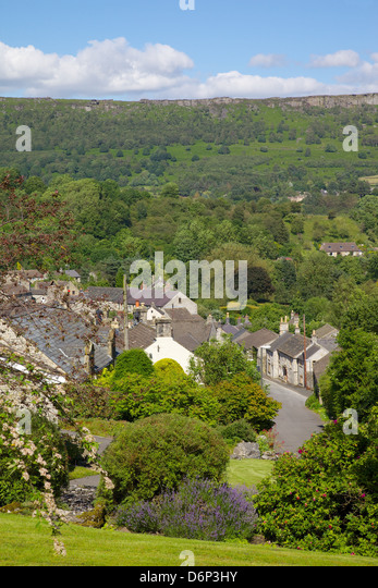 Village of Calver and Calver Edge, Derbyshire, England, United Kingdom, Europe - Stock Image