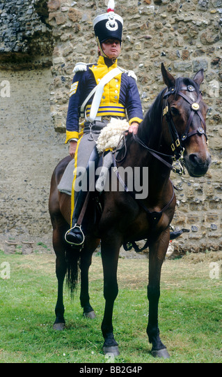 Hussar 1815 Historical re-enactment soldier dragoon regiment horse horseback mounted military costume uniform early - Stock Image