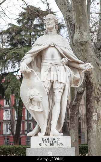 Madrid, Spain - february 26, 2017: Sculpture of Ramiro II King at Plaza de Oriente, Madrid. He was a King of Leon - Stock Image