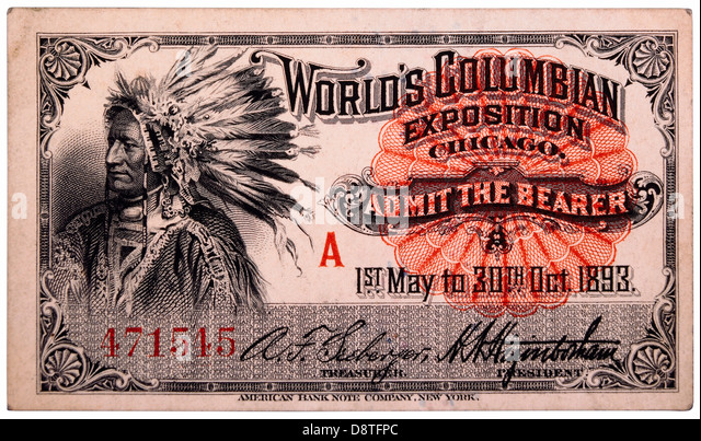 Native American Engraving, Ticket to World's Columbian Exposition, Chicago, Illinois, 1893 - Stock Image