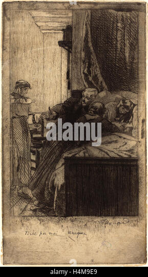 Albert Besnard, French (1849-1934), Sickness (La Maladie), 1884, etching and aquatint on laid paper - Stock-Bilder
