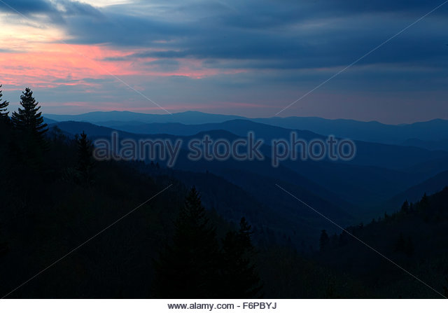 Sunrise fron Oconaluftee overlook, Great Smoky Mountains National Park, Tennessee. - Stock Image