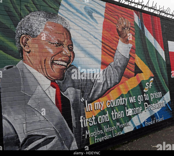 Nelson Mandela - International Peace Wall,Cupar Way,West Belfast, Northern Ireland, UK - Stock Image