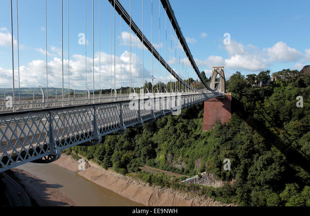 Clifton Suspension Bridge is a toll bridge spanning the Avon Gorge and the River Avon in Bristol - Stock Image