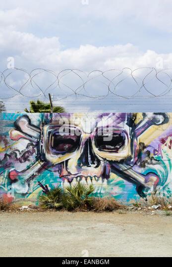 Wall grafitti, Larnaca, Cyprus - Stock Image
