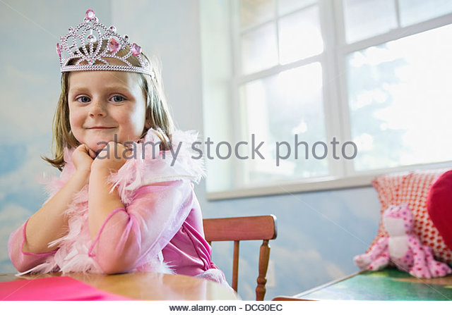 Portrait of little girl dressed up as a princess - Stock Image
