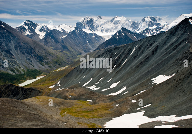 The trail from Mt. Belukha to Lake Kucherla, Mtn. Belukha Park, Altai Republic, Siberia, Russia - Stock-Bilder