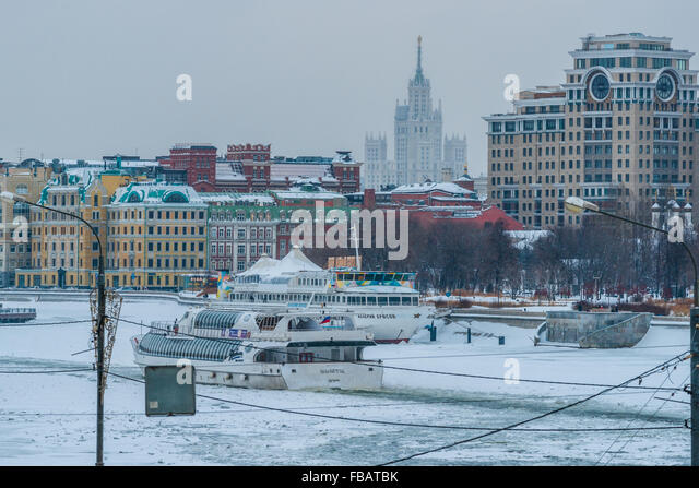 Russia, Snowy days in Moscow. January 13, 2016. Second day of the periodical snowing in Moscow and the second day - Stock Image