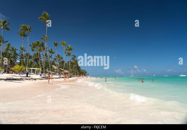 palm fringed sandy beach of Playa Bavaro, Punta Cana,  Dominican Republic, Carribean, America, - Stock Image