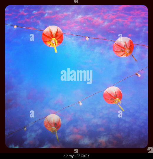 USA, California, Los Angeles, Lanterns in Chinatown - Stock-Bilder