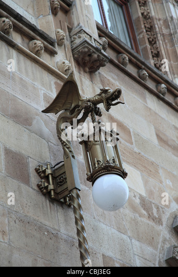 Ornate Lamp, Palacio Postal, Post Office Palace, Historic Center, Mexico City, Mexico - Stock Image