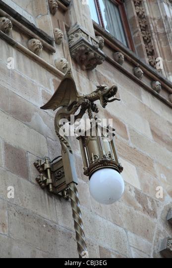 Ornate Lamp, Palacio Postal, Post Office Palace, Historic Center, Mexico City, Mexico - Stock Image
