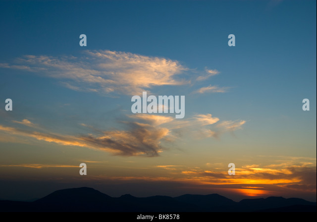 Sunset from Ysgafell Wen, in the Moelwyn hills, Snowdonia, North Wales, UK - Stock Image