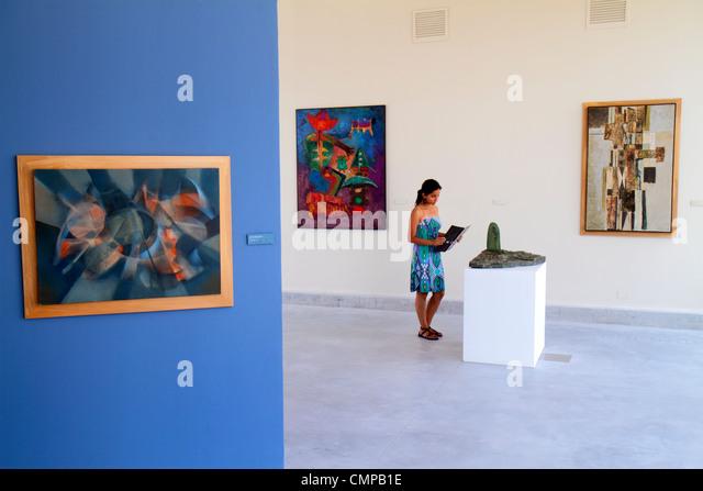 Lima Peru Barranco Avenida Miguel Grau Museo de Arte Contemporaneo contemporary art museum Hispanic woman gallery - Stock Image