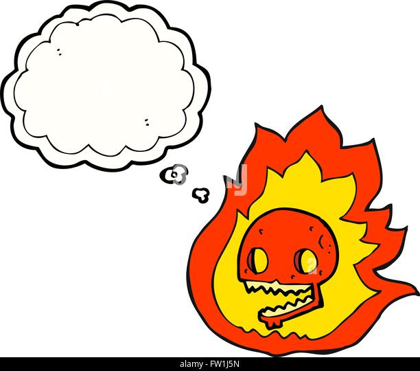 freehand drawn thought bubble cartoon burning skull - Stock Image
