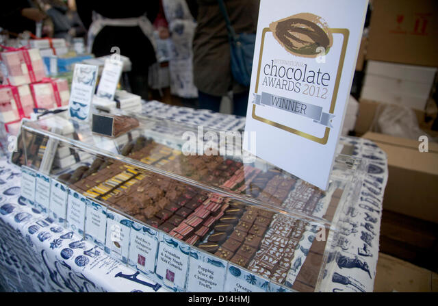 7th December 2012. London UK. The Chocolate festival opens at the South bank in London with many chocolate makers - Stock Image