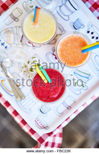 Tree smoothies on the table - Stock Image