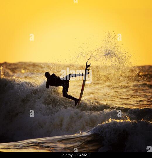 Sunset surfer - Stock Image