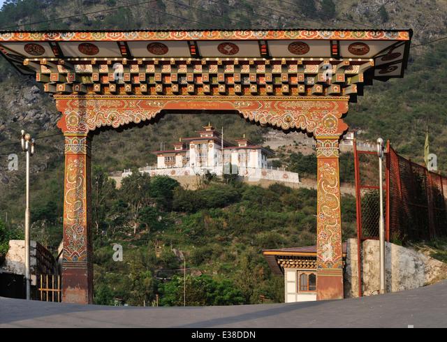 Ornate gate, Trashigang, Eastern Bhutan - Stock Image