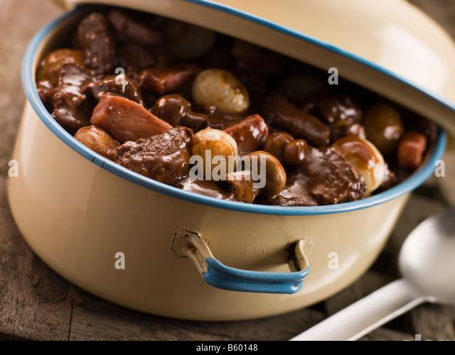 Casserole Dish With Beef Bourguignonne - Stock Image