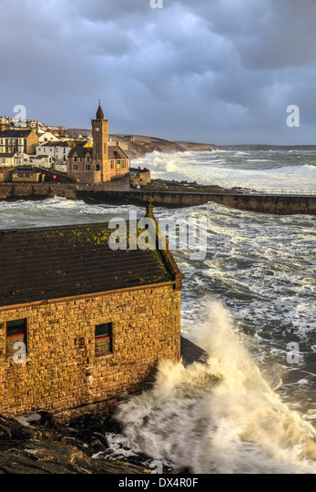 The clock tower at Porthleven captured from above the old RNLI Station - Stock Image