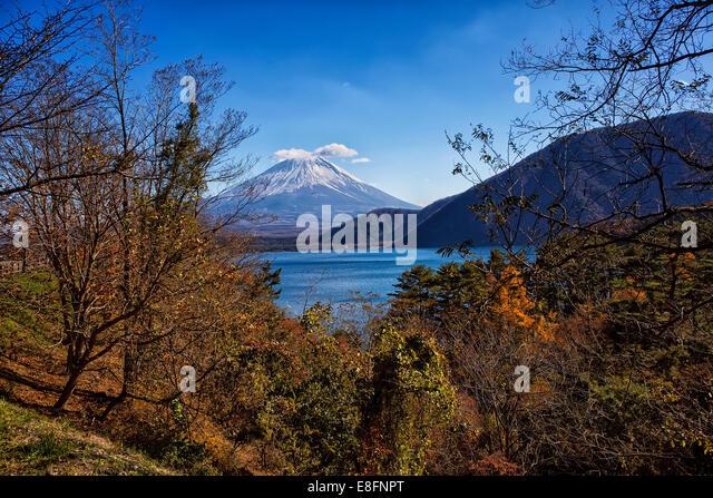 Japan, Yamanashi Prefecture, View of Mt Fuji - Stock Image