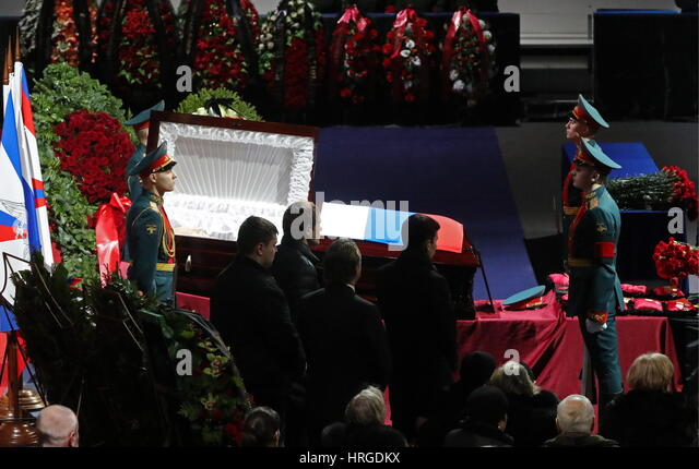 Moscow, Russia. 2nd Mar, 2017. Honour guards at a mourning ceremony for ice hockey forward Vladimir Petrov at CSKA - Stock Image