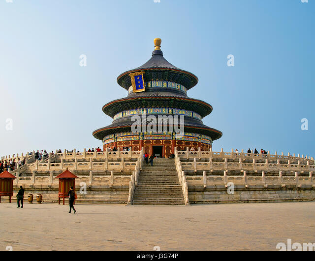 This ancient Temple of Heaven complex was constructed in the early 1400's. - Stock Image