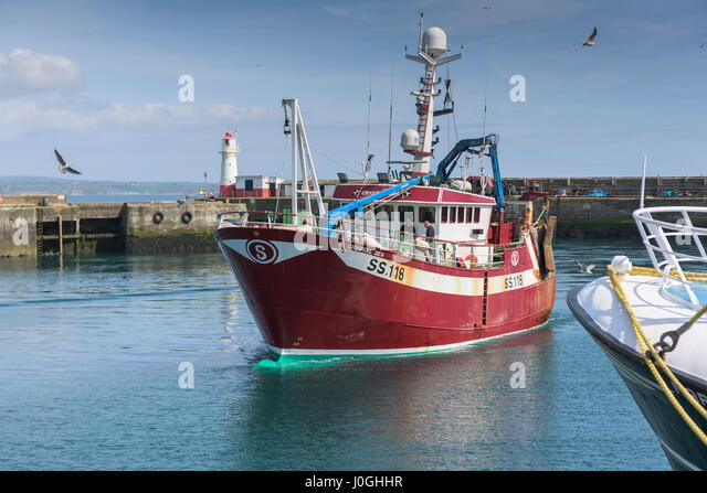 Newlyn Fishing Port SS118 Crystal Sea Harbour Harbor Fishing boat Fishing vessel Entering harbour Harbor Fishing - Stock Image
