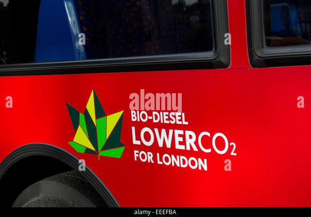 Close up of biodiesel logo on a bus - Stock Image