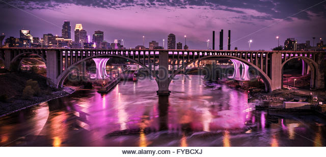 Minneapolis in purple mourning the passing of the musical artist Prince. - Stock Image