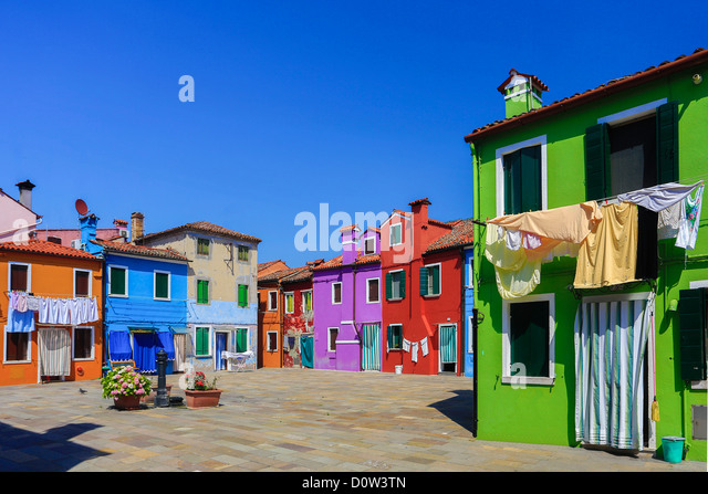 Italy, Europe, travel, Burano, architecture, colourful, colours, tourism, Venice, houses - Stock-Bilder