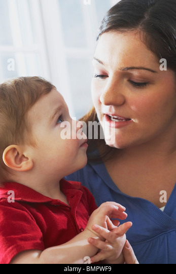 Knoxville, Tennessee, United States Of America; A Mother And Her Young Son - Stock Image