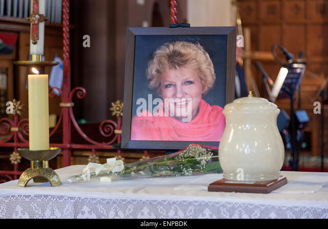 Holy Trinity Church, Chesterton, UK. 8 May 2015. Portrait photograph and ashes of Singer/Songwriter Jackie Trent - Stock Image