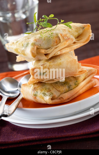 Filo pastry pies filled with peas - Stock Image