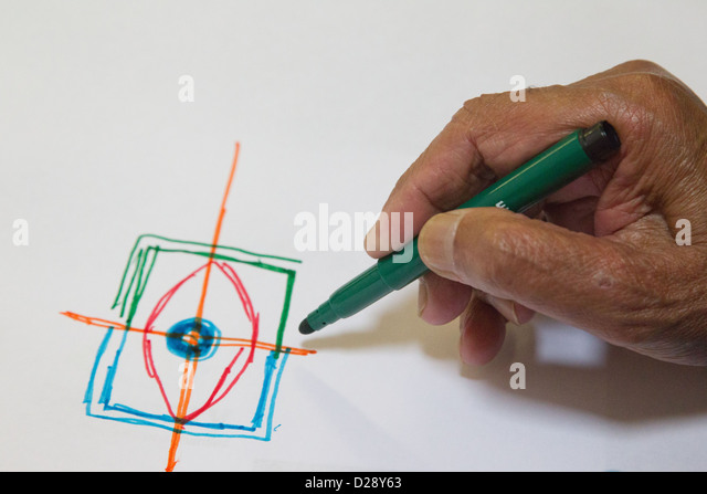 Drawing a logo idea for NRSB - Stock Image