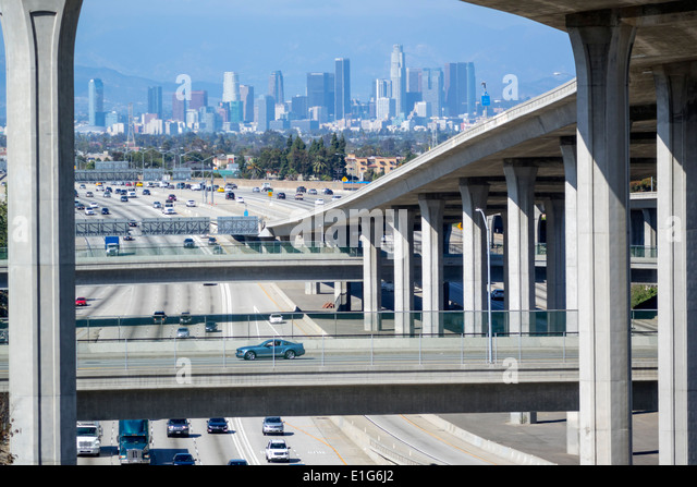 Los Angeles California CA L.A. Interstate 110 105 I-110 I-105 Harbor Freeway highway overpass freeway motorway interchange - Stock Image