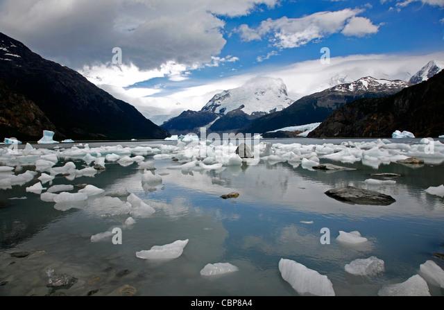 Frozen ice at Lago Argentina, Los Glaciares National Park, El Calafate area, Santa Cruz province. Patagonia. Argentina. - Stock Image