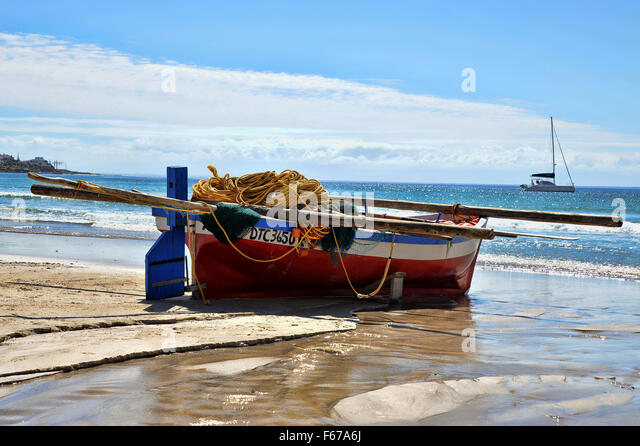 Fishing Boat at Fish Hoek, Cape Town, South Africa - A tranquil paradise - Stock Image