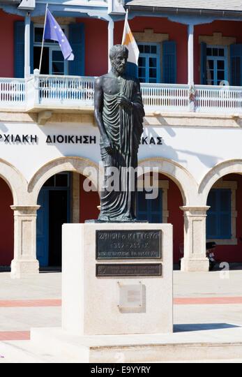 Zeno of Kition staue, founder of Stoicism philosophy, Europe Square, Larnaca, Cyprus. - Stock Image